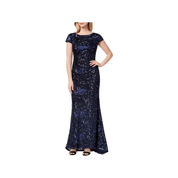 bc3410823c799 Calvin Klein Womens Evening Dress Sequined Scoop Back