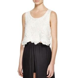 Ella Moss Womens Crop Top Lace Textured