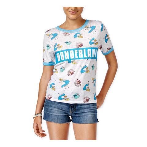 Disney Womens Wonderland Ringer Graphic T-Shirt, White, X-Small