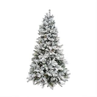 7.5' Pre-Lit Single Plug Flocked Victoria Pine Artificial Christmas Tree - Multi-Function LED Lights - green