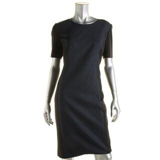 T Tahari Womens Avani Faux Leather Trim Mix Media Wear to Work Dress - 12