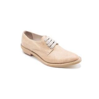 Brunello Cucinelli Womens Beige Distressed Leather Brown Oxfords Size 39 / 9
