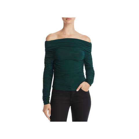 Elizabeth and James Womens Terence Pullover Top Ruched Off-The-Shoulder