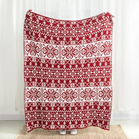 """Glitzhome 60""""L*50""""W Christmas Knitted Throw Blanket"""