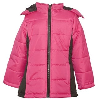 KC Collections Little Girls Fuchsia Black Hooded Full Zipper Puffer Coat