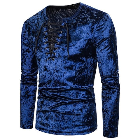 Mens Long Sleeve Shirt, Jacobite Ghillie Shirt For Kilts, Casual Long Sleeve Lace-Up Shirts Tops