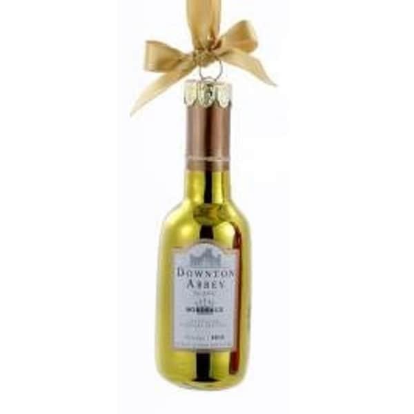 "4.5"" Downton Abbey Shiny Gold Glass Blanc Wine Bottle Christmas Ornament - YELLOW"