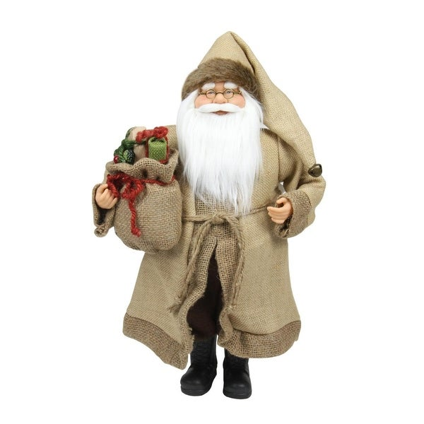 """18.25"""" Rustic Lodge Santa Claus with Bag of Presents Christmas Decoration"""