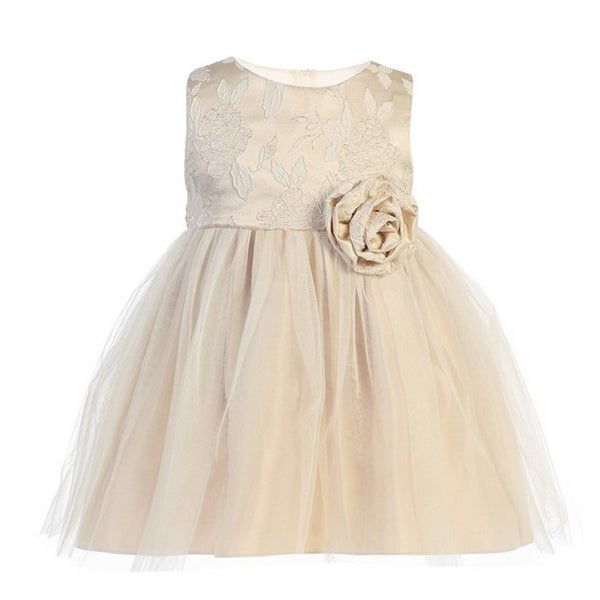 e2b0f53934e0d Baby Girls Beige Floral Jacquard Crystal Tulle Easter Dress