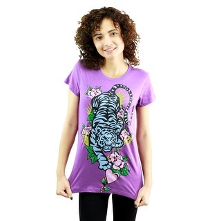 Catwalk Tiger in Nature Women's Purple T-shirt