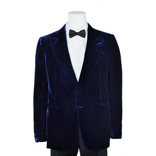 Tom Ford Navy Shelton Slim Fit Velvet Tuxedo Jacket - 38r