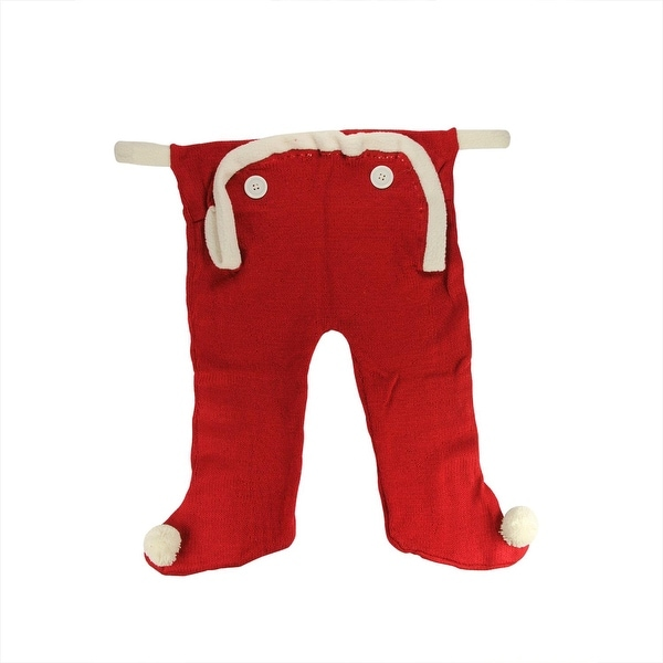 """16"""" Red and White Knit Long Underwear Union Suit Christmas Stocking"""
