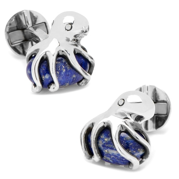 Sterling Octopus on Lapis Cufflinks