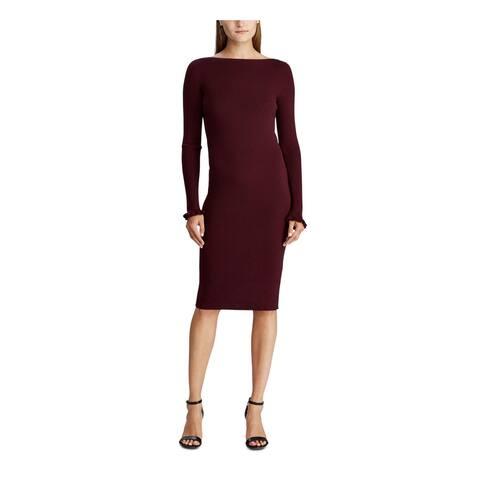 RALPH LAUREN Red Long Sleeve Below The Knee Body Con Dress Size L