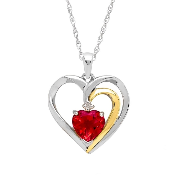 Ruby Heart Pendant with Diamond in Sterling Silver and 14K Gold