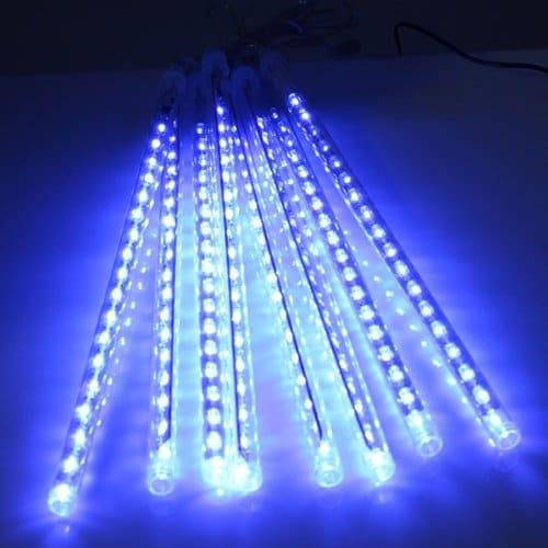 AGPtek 8 Tube Colorful Meteor Shower Rain Lights Snowfall Light for Party Christmas Decoration 30cm 144LEDs; Blue
