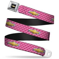 Chevy Bowtie Full Color Black Gold Chevy Gold Bowtie W Logo Pink Webbing Seatbelt Belt