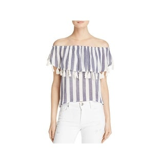Vintage Havana Womens Casual Top Striped Tassel - l