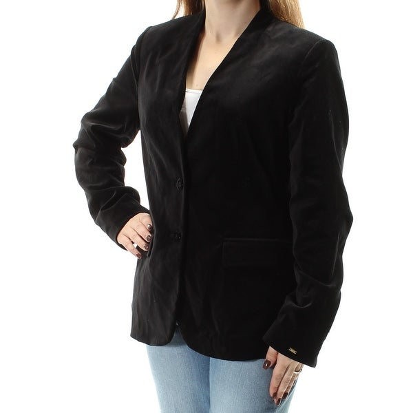 09f2d334d4f1 Shop TOMMY HILFIGER $149 Womens New 1678 Black Faux Suede Blazer Casual  Jacket 10 B+B - Free Shipping On Orders Over $45 - Overstock - 21310946