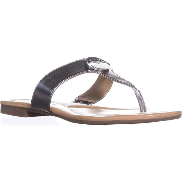 Alfani Womens Hollis Open Toe Casual Slide Sandals - Lead