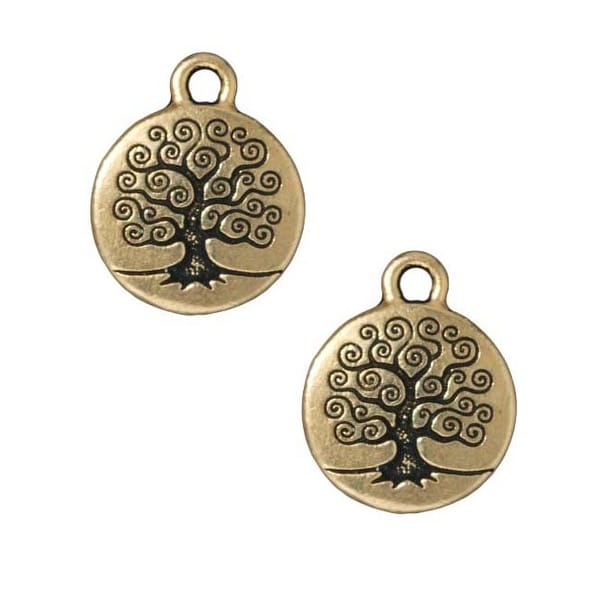 TierraCast 22K Gold Plated Pewter Round Tree Of Life Charm 19mm (1)