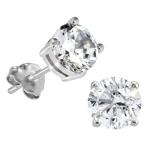 Lab Grown Diamond Solitaire Stud Earrings, 1/2 Ctw 14K Gold by Smiling Rocks