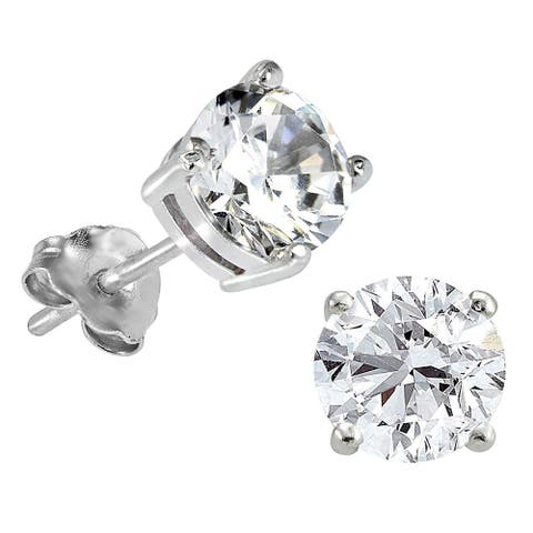 Lab Grown Diamond Solitaire Stud Earrings, 1 Ctw 14K Gold by Smiling Rocks