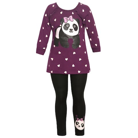 Little Girls Burgundy Panda Bear Heart Print Ruffle Trim 2 Pc Legging Set