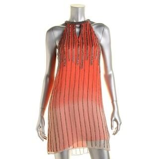 Parker Womens Silk Embellished Cocktail Dress