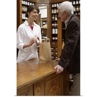 Poster Print entitled Female pharmacist advising customers