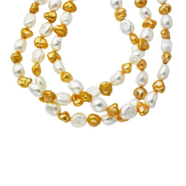 Triple-Row Freshwater Pearl Strand Necklace in Sterling Silver