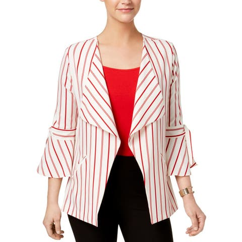 NY Collection Womens Blazer Striped Bell Sleeve