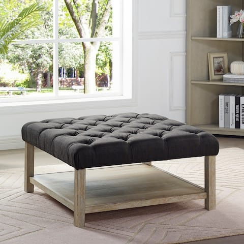 Furniture of America Augustin Transitional Square Tufted Ottoman