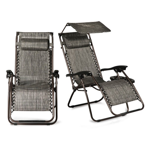 BELLEZE 2-Pack Recliner Slots Reclining Zero Gravity Chairs Canopy Shade w/ Headrest Pillows, Gray