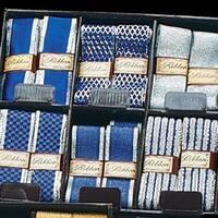 "Blue and Silver Ribbon Box 36 Piece Set 1.5"" x 108 Yards"