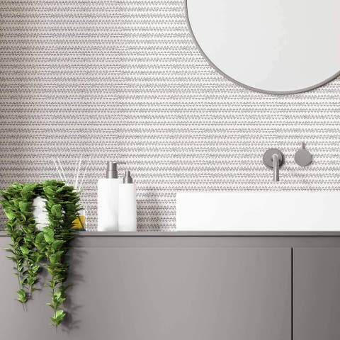 Black and White Stripe Peel and Stick Removable Wallpaper 5927