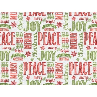 "Pack Of 120, Chalkboard Wishes Recycled Christmas Printed Tissue Paper 20"" X 30"" Sheets Half Ream Made In Usa"