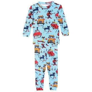 Boy's Pete The Cool Cat Cotton Toddler Pajamas - Blue