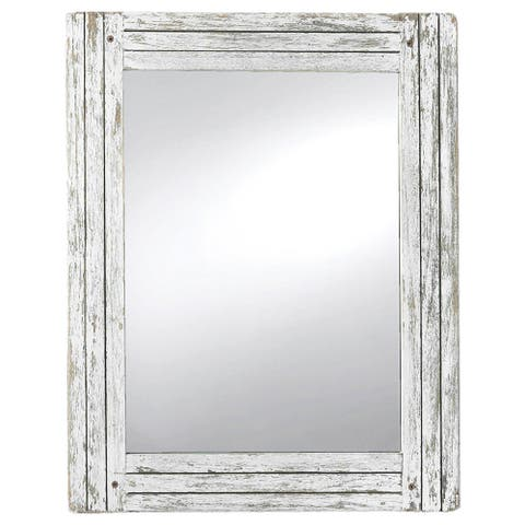 Foreside Home & Garden White Rectangle Distressed Wood Frame Mirror - White Washed - 0.98x18.9x24.02