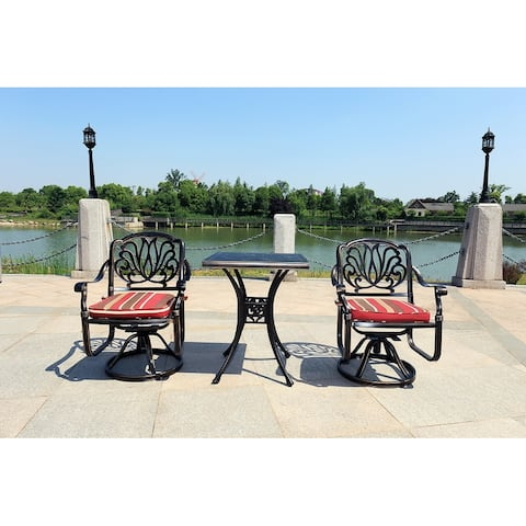 Moda Outdoor 3-Piece All-Weather Alum Casting Garden Set Swivel Chairs