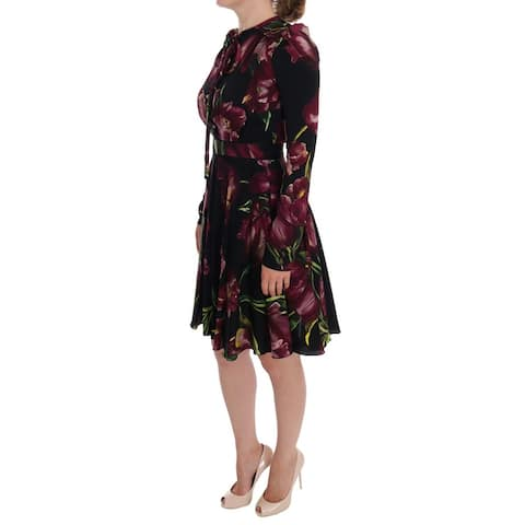 Dolce & Gabbana Black Silk Stretch Purple Tulip Sheath Women's Dress - it36-xs