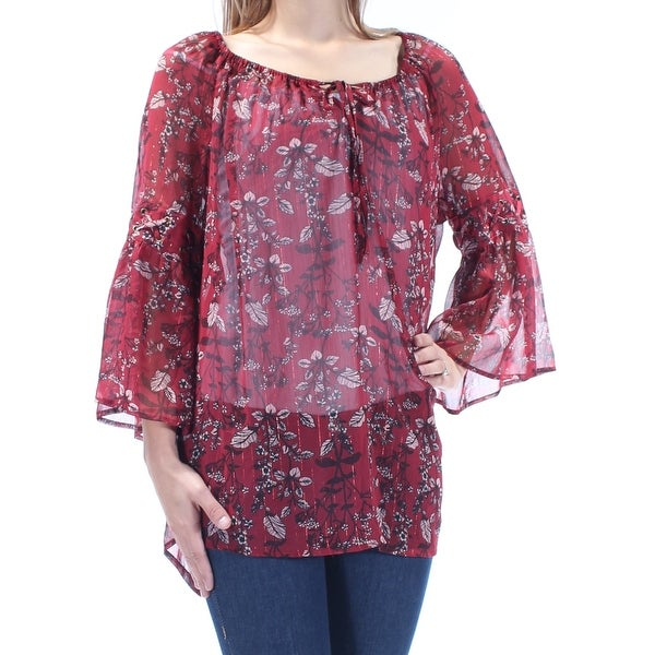 STYLE & CO Womens Burgundy Sheer Tie Floral Bell Sleeve V Neck Peasant Top Size: OX