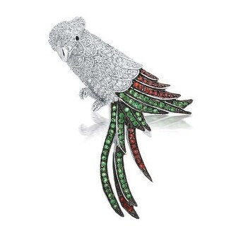 Bling Jewelry Multicolor Parrot Brooch CZ Animal Pendant Rhodium Plated