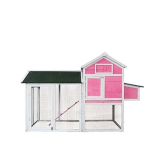 Lovupet Deluxe Wooden Chicken Rabbit Poultry Coop Hen House Pet Cage Backyard 0310L