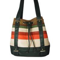 Aryana Junior Womens Green Multi Stripe Double Shoulder Strap Chic Handbag Purse - One size