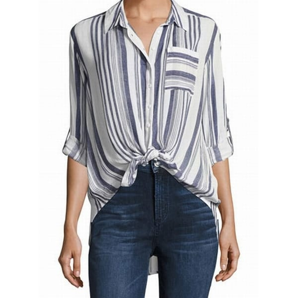 dc4b655c Shop Dex NEW Blue Women's Size Medium M Striped High Low Button Down Shirt  - Free Shipping On Orders Over $45 - Overstock.com - 19623089