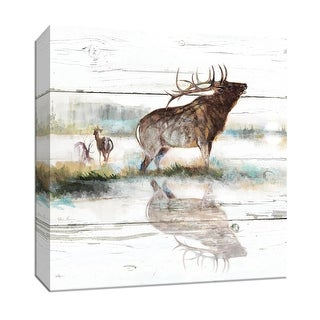 "PTM Images 9-147519  PTM Canvas Collection 12"" x 12"" - ""Rustic Misty Elk"" Giclee Elk Art Print on Canvas"