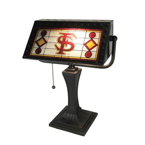 Florida State University Seminoles Stained Glass Banker Style Desk Lamp - Red