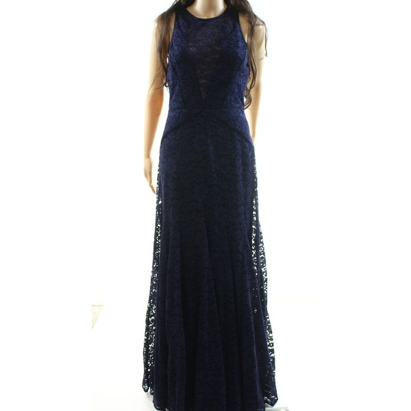 Vera Wang Navy Blue Women's Size 6 Floral Lace Evening Gown