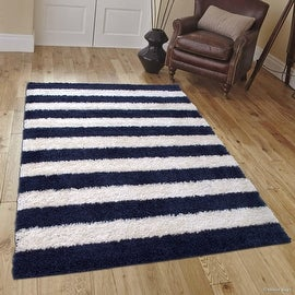 "Allstar Blue Dense High Pile Posh Shaggy Area Rugs, Textured Frieze, Soft, Comfortable, Modern & Contemporary (5' 0"" x 7' 0"")"